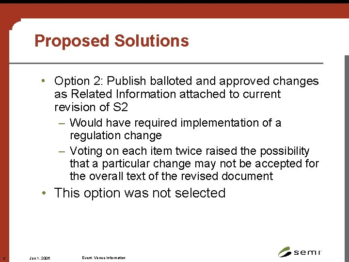Proposed Solutions • Option 2: Publish balloted and approved changes as Related Information attached
