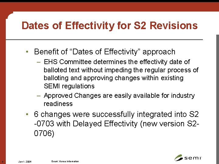 """Dates of Effectivity for S 2 Revisions • Benefit of """"Dates of Effectivity"""" approach"""