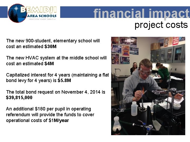 financial impact project costs The new 900 -student, elementary school will cost an estimated