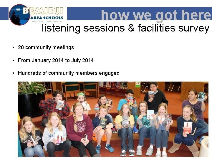 how we got here listening sessions & facilities survey • 20 community meetings •