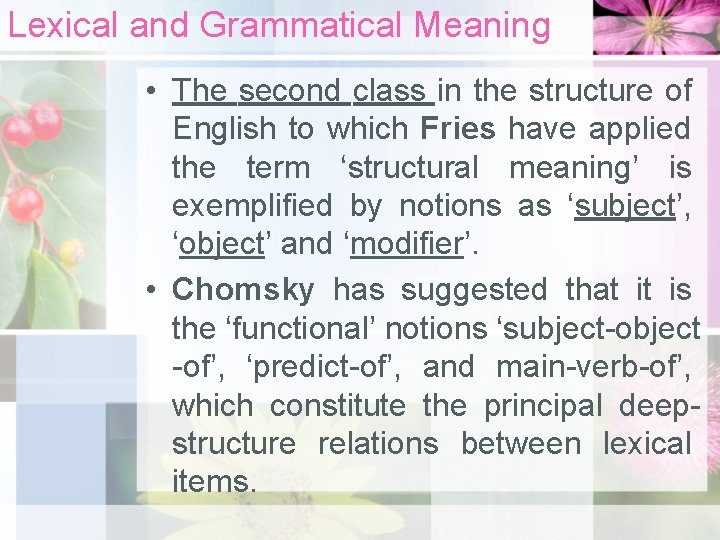 Lexical and Grammatical Meaning • The second class in the structure of English to
