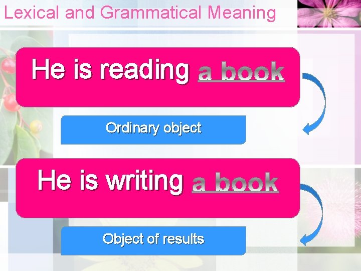 Lexical and Grammatical Meaning He is reading Ordinary object He is writing Object of
