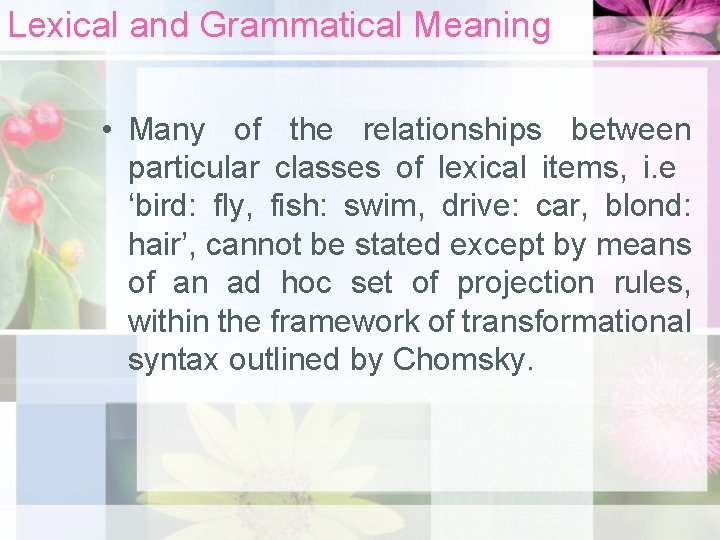 Lexical and Grammatical Meaning • Many of the relationships between particular classes of lexical