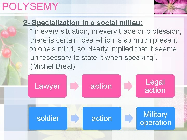 """POLYSEMY 2 - Specialization in a social milieu: """"In every situation, in every trade"""