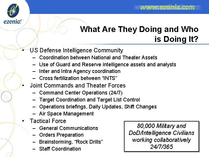 What Are They Doing and Who is Doing It? • US Defense Intelligence Community