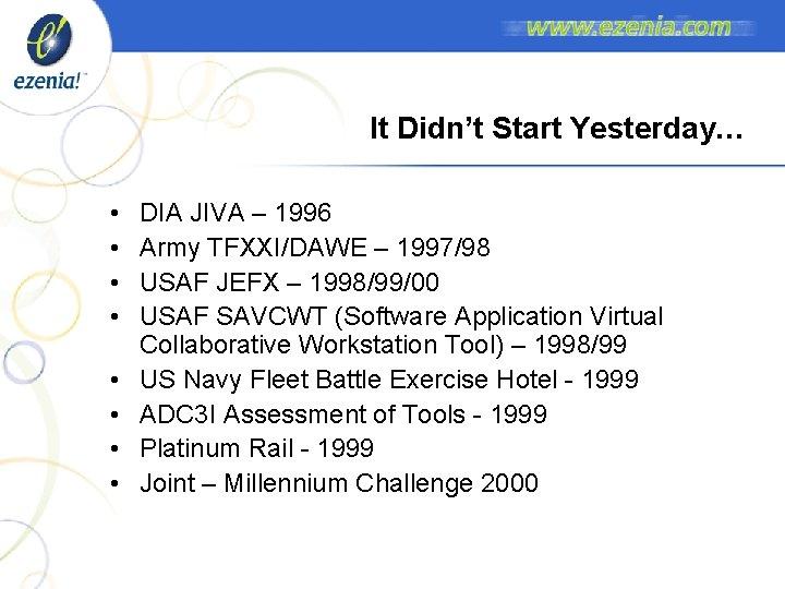 It Didn't Start Yesterday… • • DIA JIVA – 1996 Army TFXXI/DAWE – 1997/98