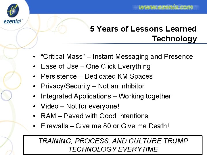 """5 Years of Lessons Learned Technology • • """"Critical Mass"""" – Instant Messaging and"""