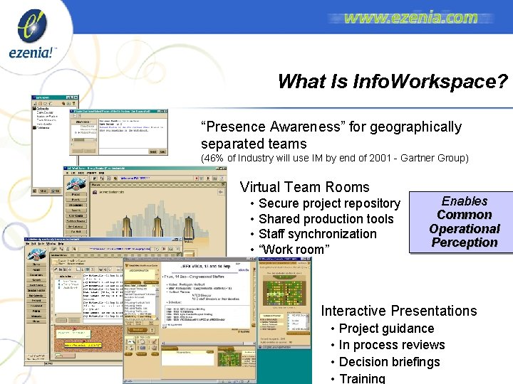 """What Is Info. Workspace? """"Presence Awareness"""" for geographically separated teams (46% of Industry will"""