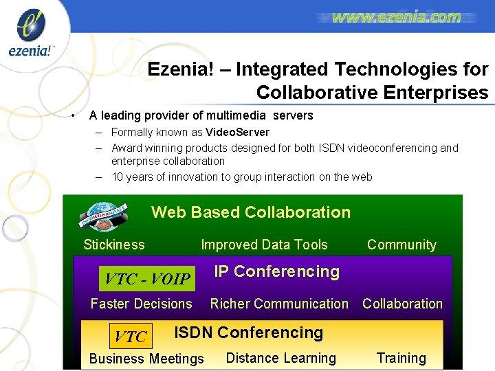 Ezenia! – Integrated Technologies for Collaborative Enterprises • A leading provider of multimedia servers