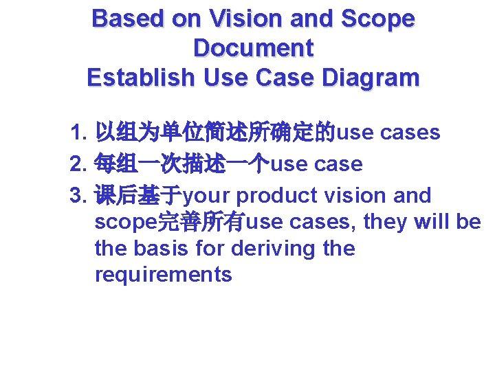 Based on Vision and Scope Document Establish Use Case Diagram 1. 以组为单位简述所确定的use cases 2.