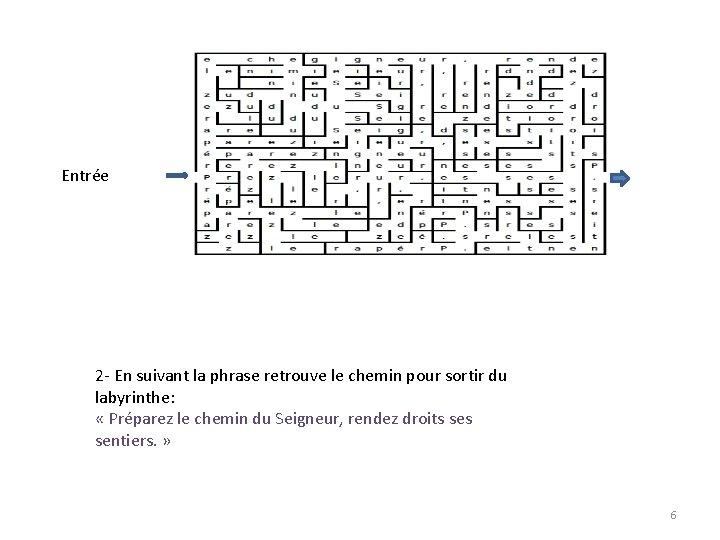 Entrée 2 - En suivant la phrase retrouve le chemin pour sortir du labyrinthe: