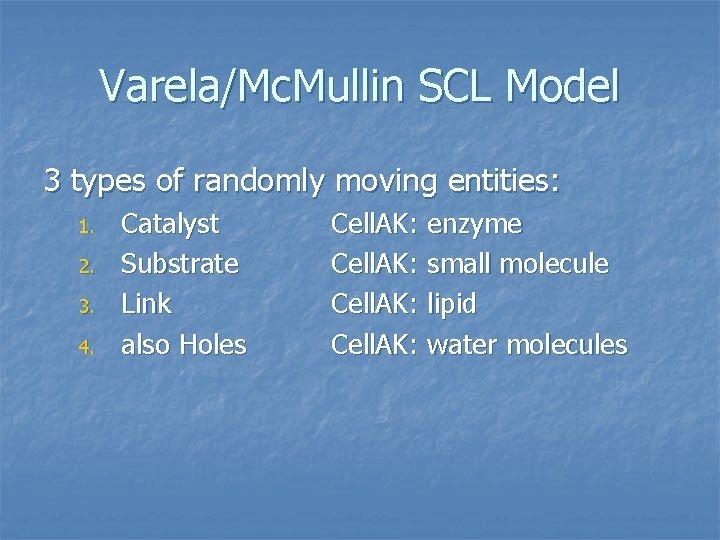 Varela/Mc. Mullin SCL Model 3 types of randomly moving entities: 1. 2. 3. 4.