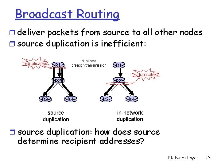 Broadcast Routing r deliver packets from source to all other nodes r source duplication