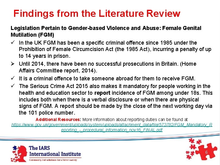 Findings from the Literature Review Legislation Pertain to Gender-based Violence and Abuse: Female
