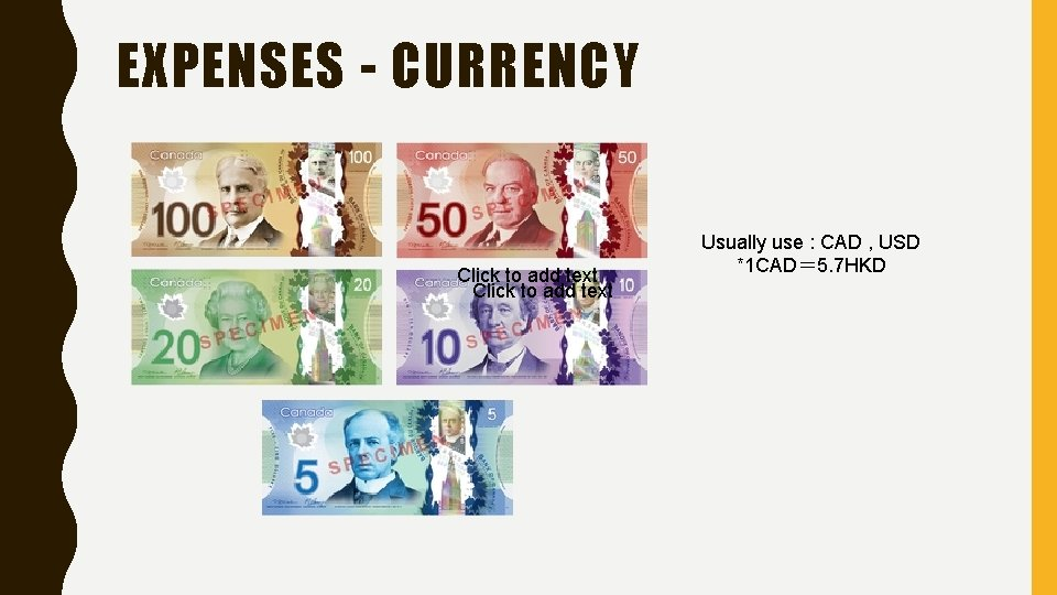 EXPENSES - CURRENCY Click to add text Usually use : CAD , USD *1