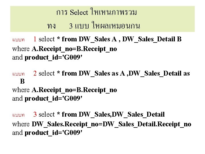 การ Select ใหเหนภาพรวม ทง 3 แบบ ใหผลเหมอนกน แบบท 1 select * from DW_Sales A