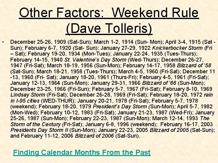 Other Factors: Weekend Rule (Dave Tolleris) • December 25 -26, 1909 (Sat-Sun); March 1