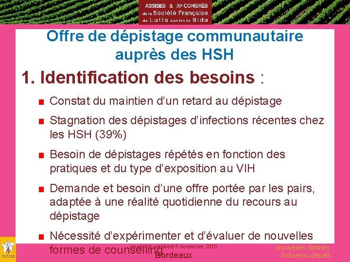 Offre de dépistage communautaire auprès des HSH 1. Identification des besoins : ■ Constat