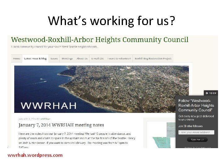 What's working for us? wwrhah. wordpress. com
