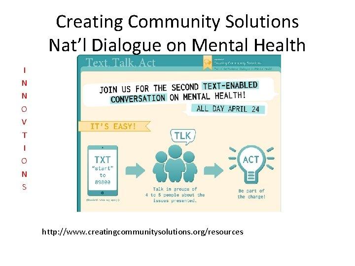Creating Community Solutions Nat'l Dialogue on Mental Health I N N O V T