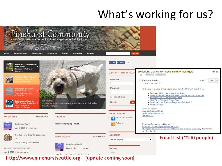 What's working for us? Email List (~400 people) http: //www. pinehurstseattle. org (update coming