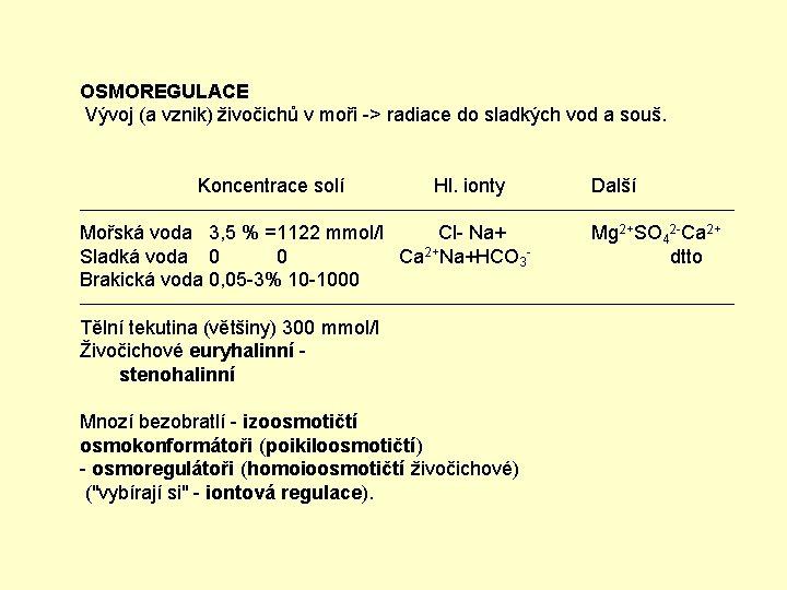 OSMOREGULACE Vývoj (a vznik) živočichů v moři -> radiace do sladkých vod a souš.