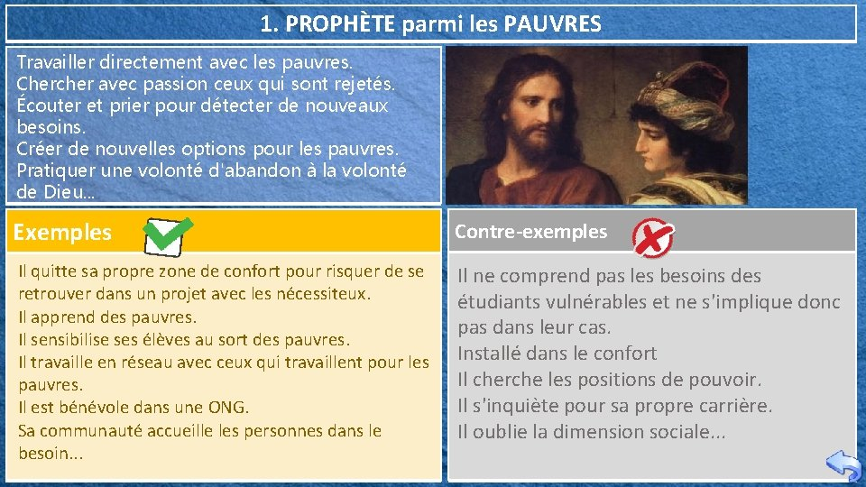 1. PROPHÈTE parmi les PAUVRES Travailler directement avec les pauvres. Chercher avec passion ceux