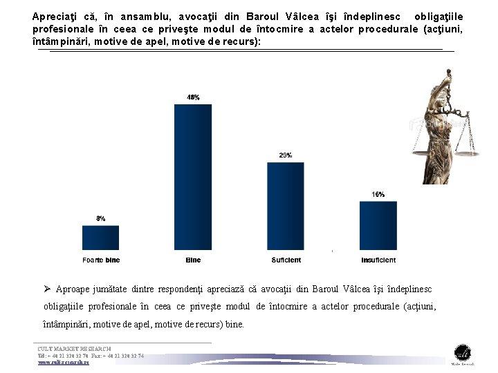 Apreciaţi că, în ansamblu, avocaţii din Baroul Vâlcea îşi îndeplinesc obligaţiile profesionale în ceea