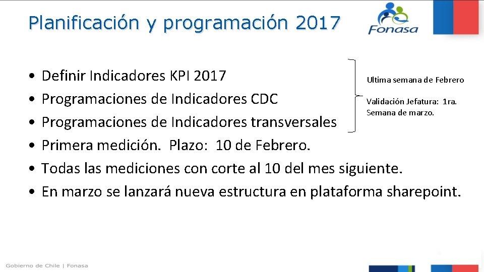 Planificación y programación 2017 • • • Definir Indicadores KPI 2017 Ultima semana de