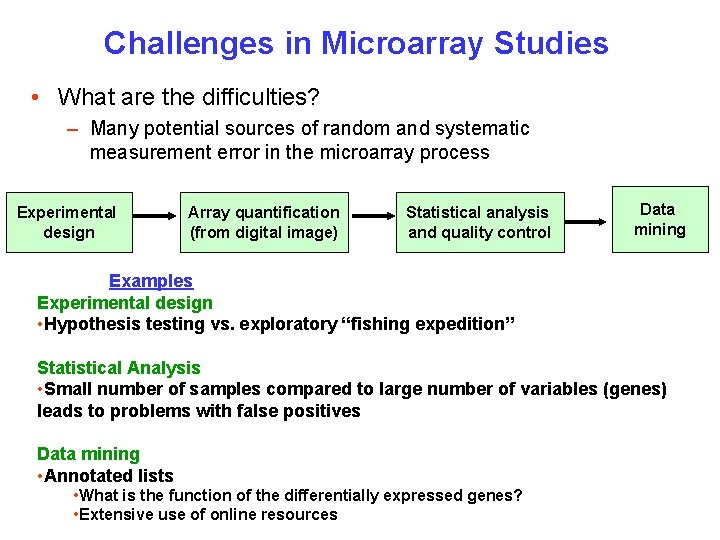 Challenges in Microarray Studies • What are the difficulties? – Many potential sources of