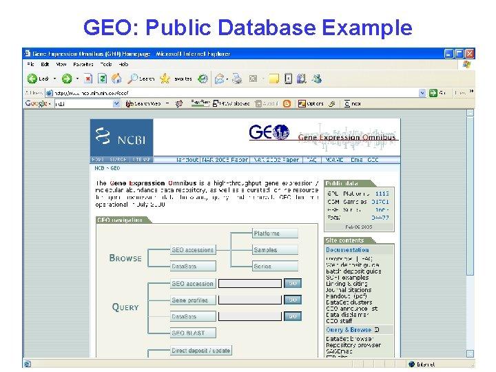 GEO: Public Database Example