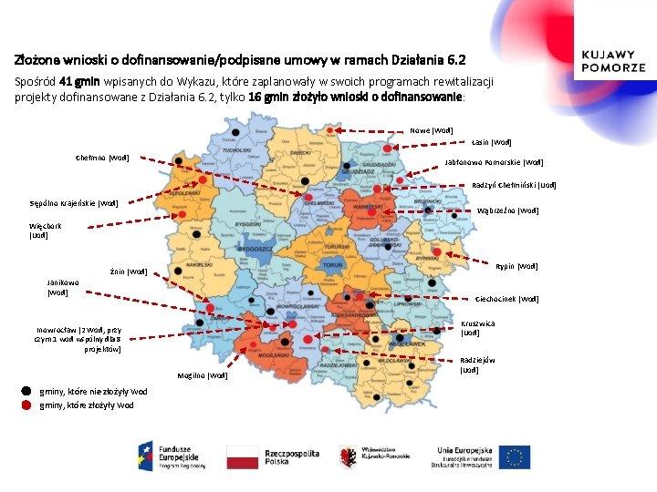 Złożone wnioski o dofinansowanie/podpisane umowy w ramach Działania 6. 2 Spośród 41 gmin wpisanych