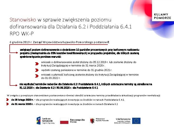 Stanowisko w sprawie zwiększenia poziomu dofinansowania dla Działania 6. 2 i Poddziałania 6. 4.