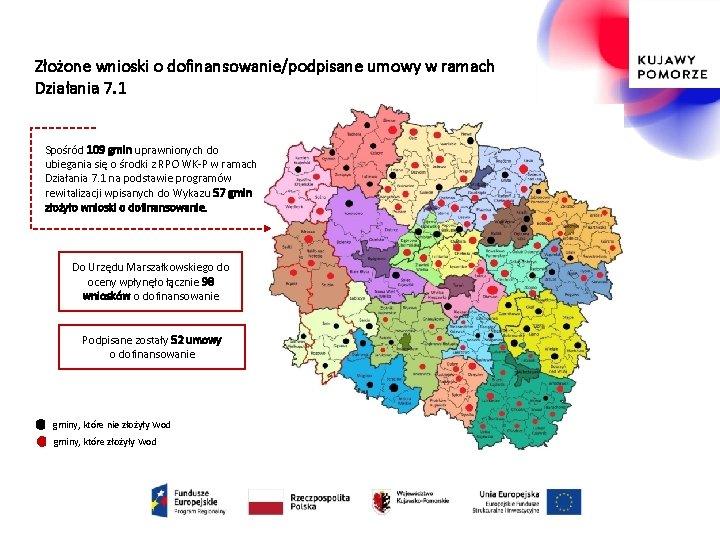 Złożone wnioski o dofinansowanie/podpisane umowy w ramach Działania 7. 1 Spośród 109 gmin uprawnionych