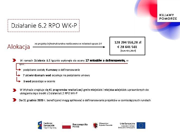 Działanie 6. 2 RPO WK-P Alokacja na projekty infrastrukturalne realizowane w miastach spoza ZIT