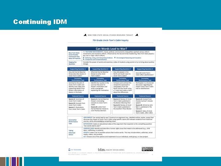 Continuing IDM