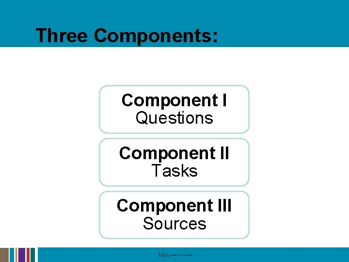 Three Components: The IDM Series Component I Questions Component II Tasks Component III Sources
