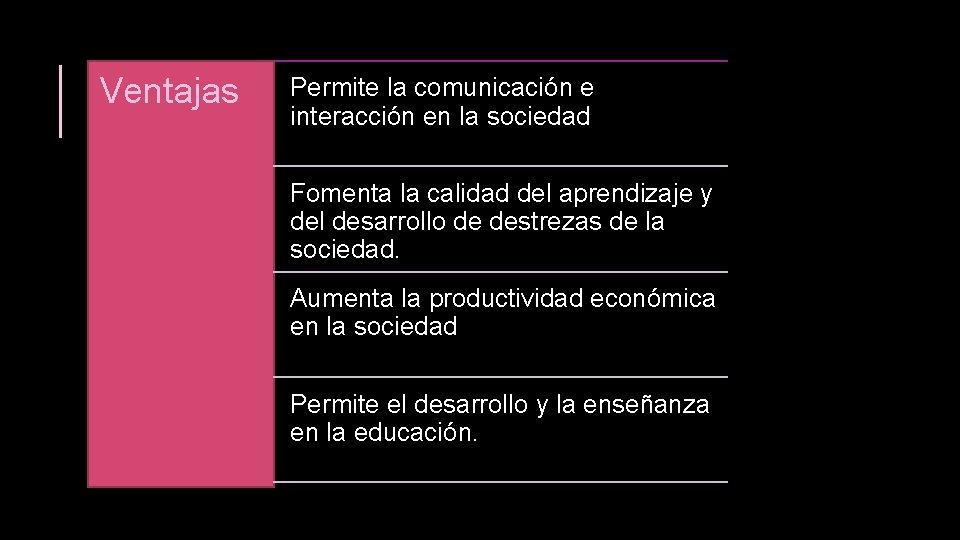 Ventajas Permite la comunicación e interacción en la sociedad Fomenta la calidad del aprendizaje