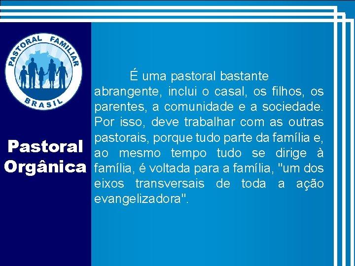 Pastoral Orgânica É uma pastoral bastante abrangente, inclui o casal, os filhos, os parentes,