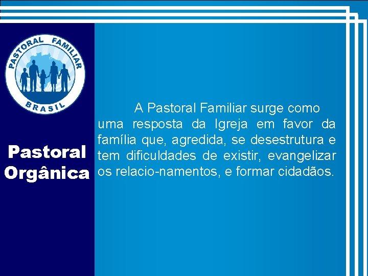 Pastoral Orgânica A Pastoral Familiar surge como uma resposta da Igreja em favor da