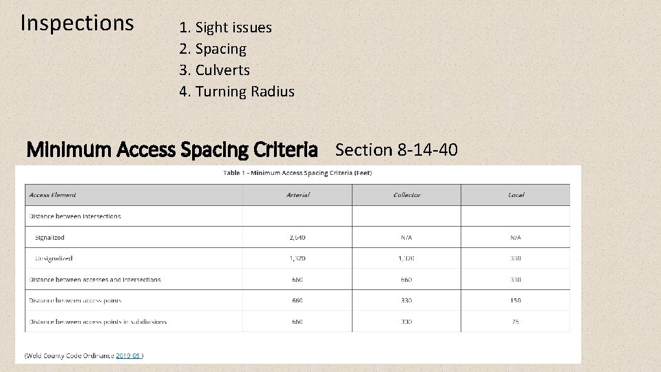 Inspections 1. Sight issues 2. Spacing 3. Culverts 4. Turning Radius Minimum Access Spacing