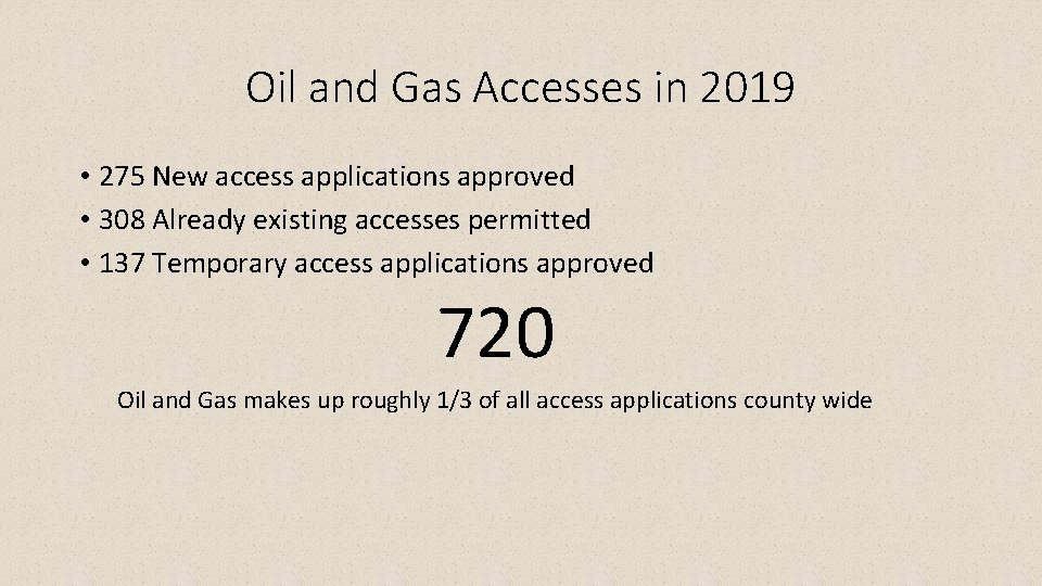 Oil and Gas Accesses in 2019 • 275 New access applications approved • 308