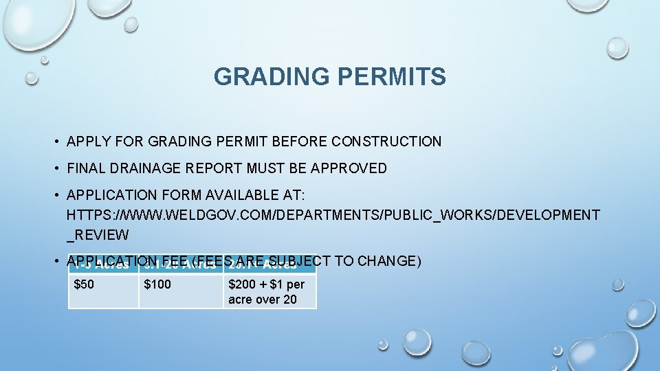 GRADING PERMITS • APPLY FOR GRADING PERMIT BEFORE CONSTRUCTION • FINAL DRAINAGE REPORT MUST