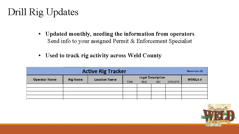 Drill Rig Updates • Updated monthly, needing the information from operators Send info to