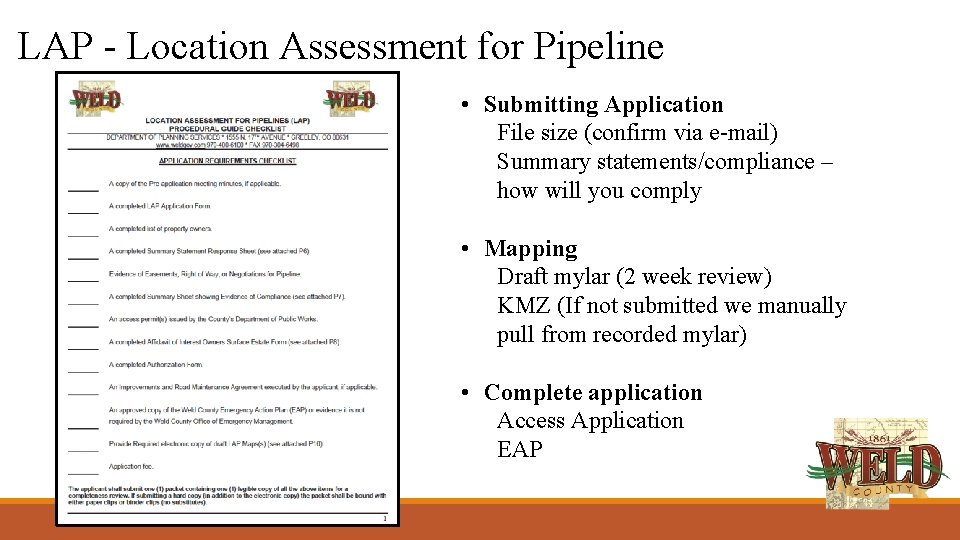 LAP - Location Assessment for Pipeline • Submitting Application File size (confirm via e-mail)