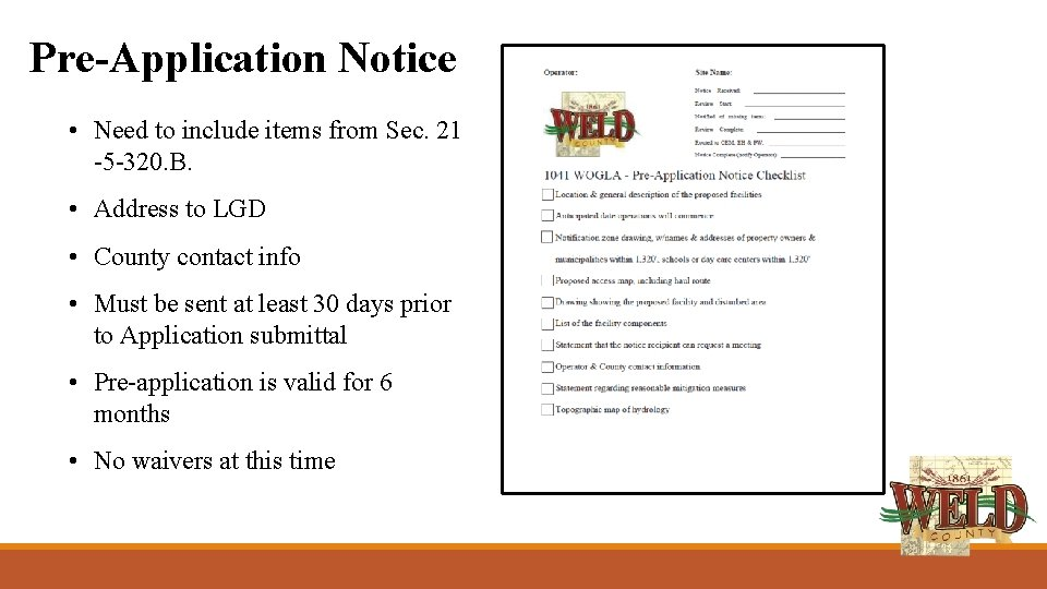 Pre-Application Notice • Need to include items from Sec. 21 -5 -320. B. •