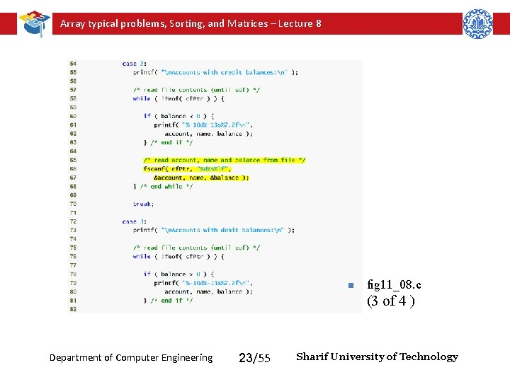 Array typical problems, Sorting, and Matrices – Lecture 8 n fig 11_08. c (3