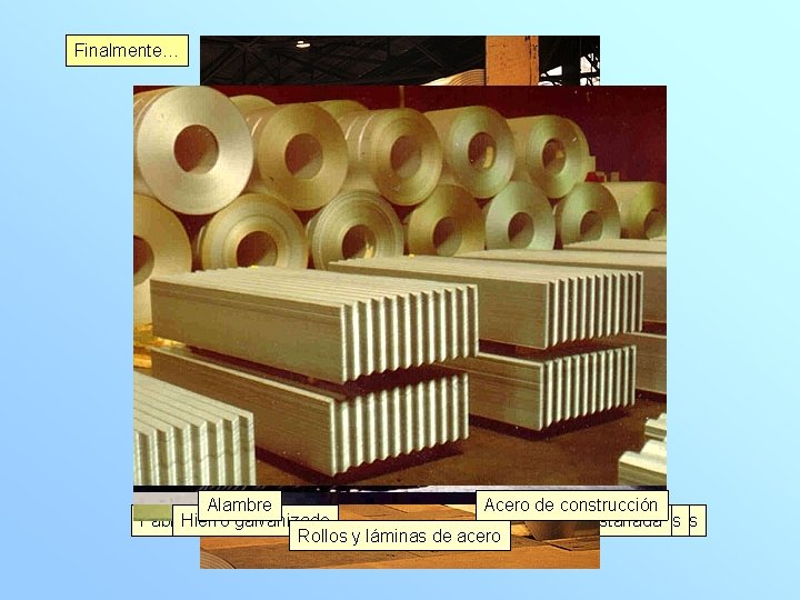 Finalmente… Alambre Acero Planchas de construcción Fabricando Haciendo Laminando Hierroláminas barras galvanizado barras en