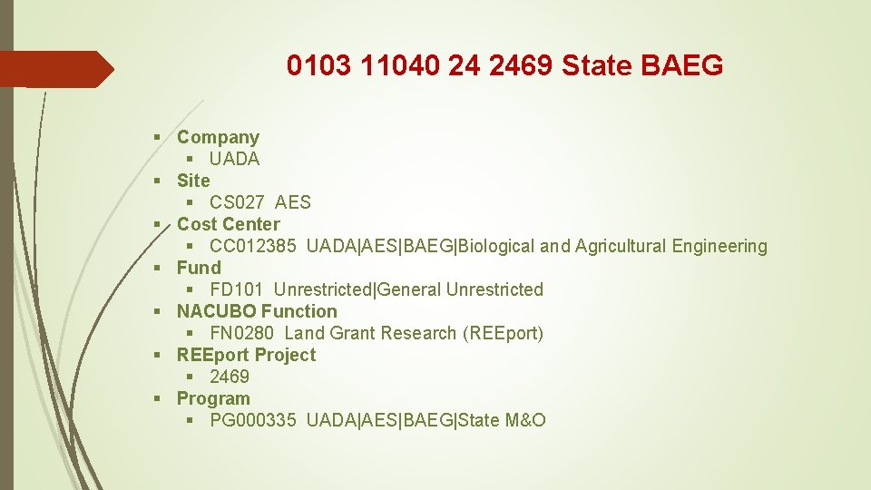 0103 11040 24 2469 State BAEG § Company § UADA § Site § CS