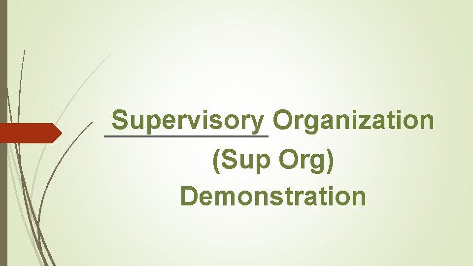 Supervisory Organization (Sup Org) Demonstration